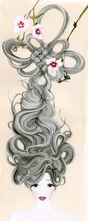 A young woman's hair is braided and intertwined with flowers. She becomes the jewel of beautiful Korean ornament called Norigae.