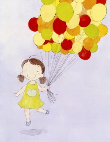 A girl is holding a cloud of balloons with a big smile on her face.